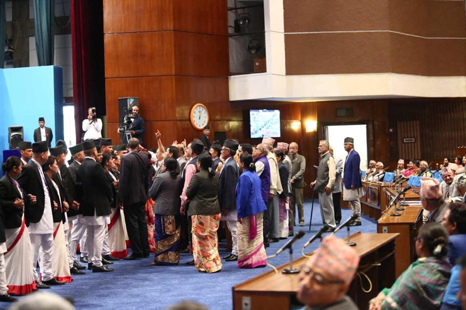 parliament meeting postponed for Wednesday after main oppoaition obstructed demanding withdrawal  of Guthi Bill