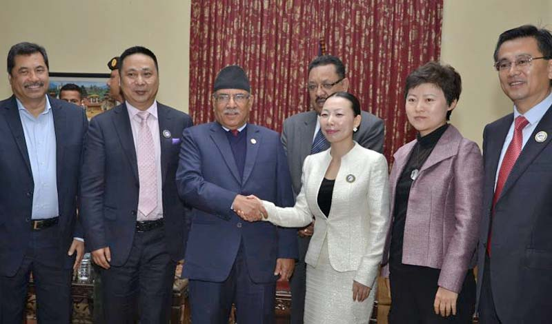 Chinese OBOR delegation meeting Prime Minister Dahal