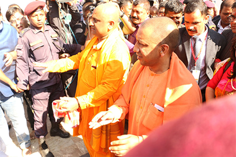 Visiting UP Chief Minister Yogi felicitated