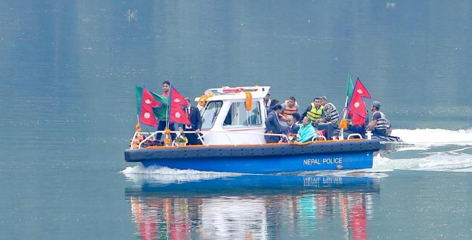 Bangladeshi President takes boat ride on Fewa Lake in Pokhara