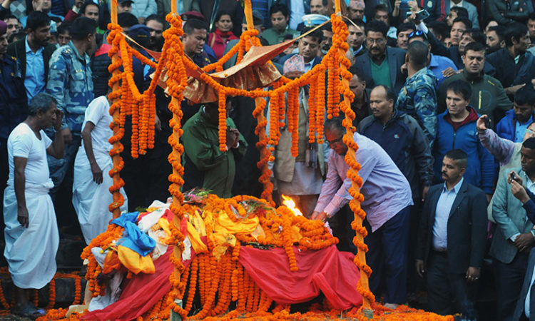 CPN Maoist Center chairman Dahal lit funeral pyre on his son Prakash's body
