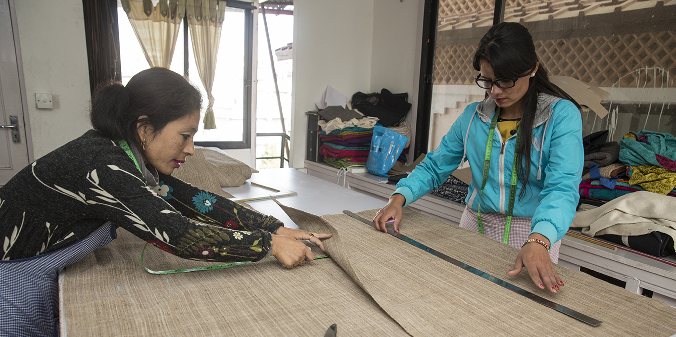 Women being trained under the enterprise development programme at the SABAH Trade Facilitation Center, Kathmandu. Photo: Jitendra Bajracharya/ICIMOD