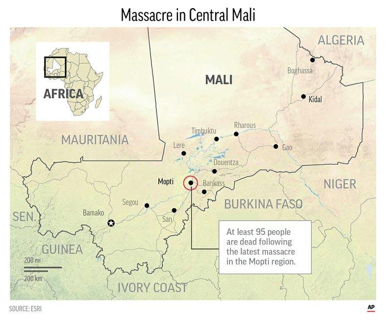 Assailants raid village in Mali, killing at least 95 people