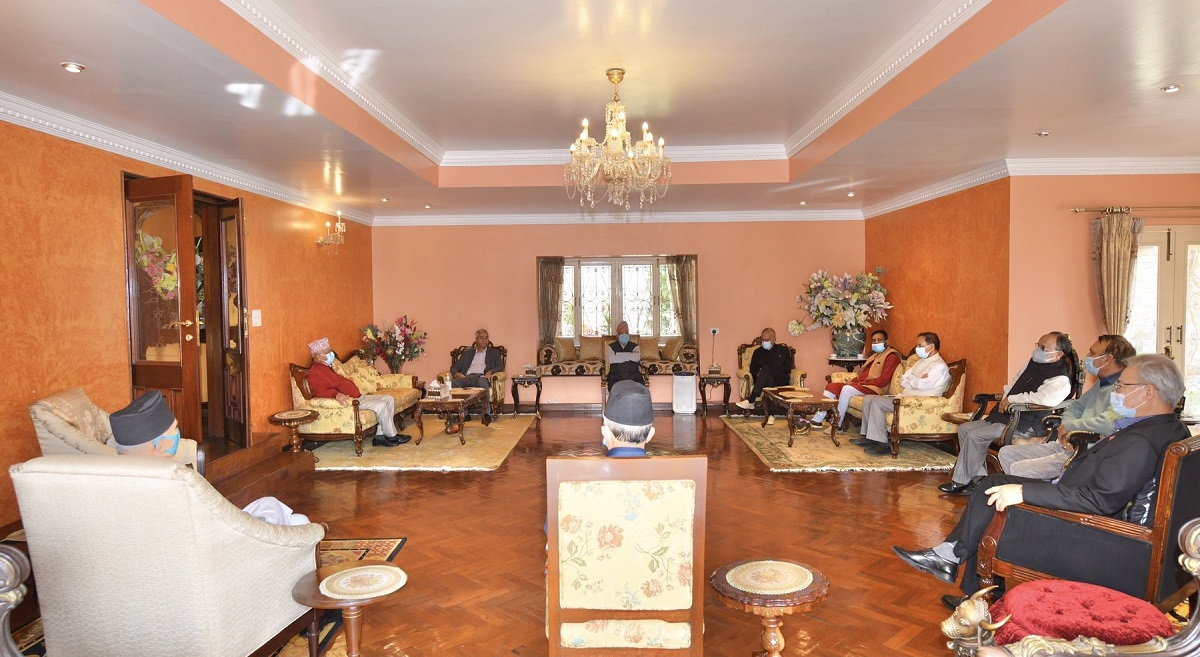 Prime Minister Oli and UML leaders meet NC leaders including president Deuba at letter's resident