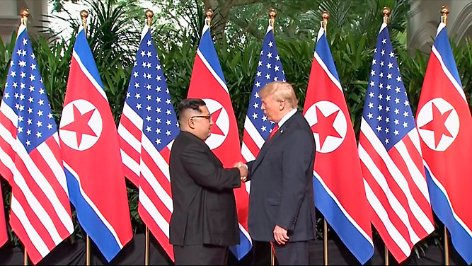 President Trump, Kim Jong Un meet in historic summit in Singapore
