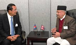 Prime Minister Oli meets Cambodian Acting Head of the State Sambdech
