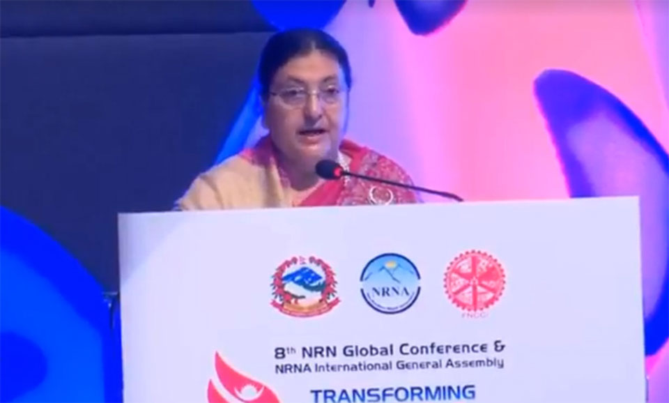 President Bhandari urges non-resident Nepalis to invest in Nepal