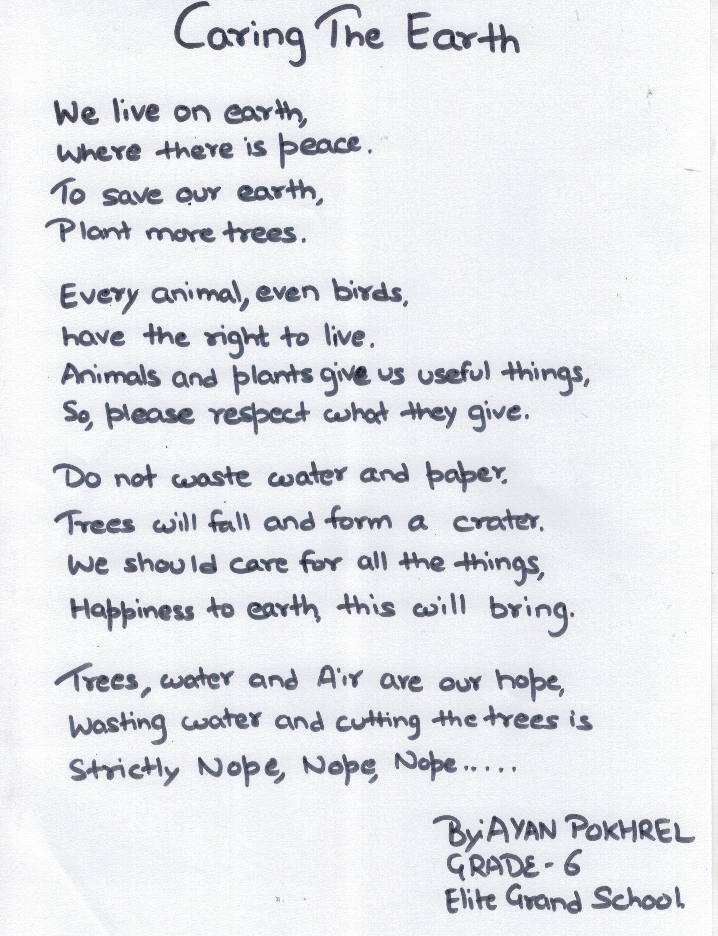 CARING THE EARTH