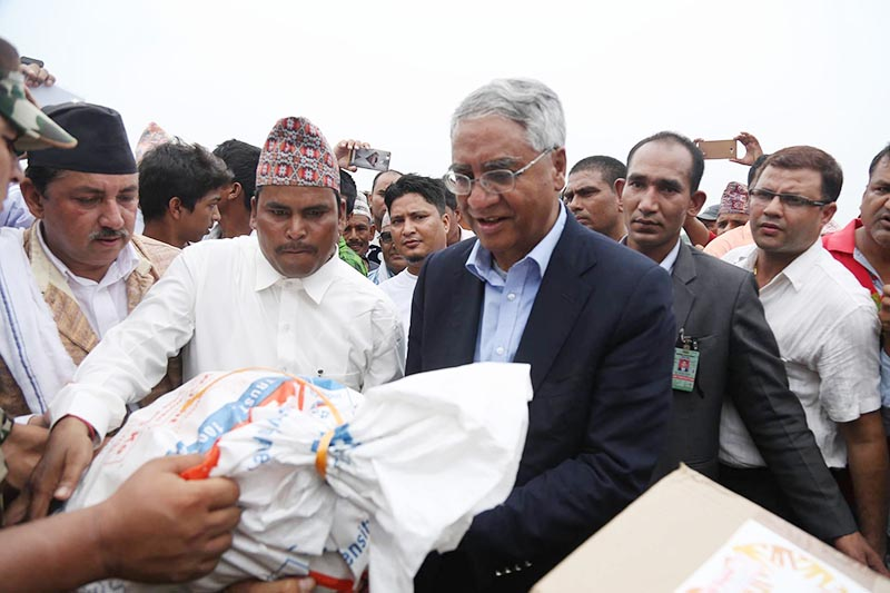 Prime Minister Deuba reaches in Kanke to take stock of flood-hit areas