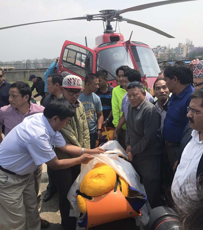 Body of octogenarian Nepali climber Sherchan airlifted to Kathmandu