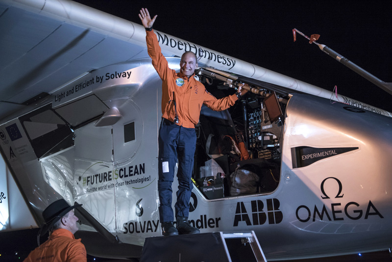 """In this photo provided by Solar Impulse, Bertrand Piccard acknowledges the crowd prior to the takeoff of """"Solar Impulse 2,"""" in Goodyear, Arizona, Thursday, May 12, 2016. The solar-powered airplane that landed in Arizona last week is headed to Oklahoma on the latest leg of its around-the-world journey. Photo: AP"""