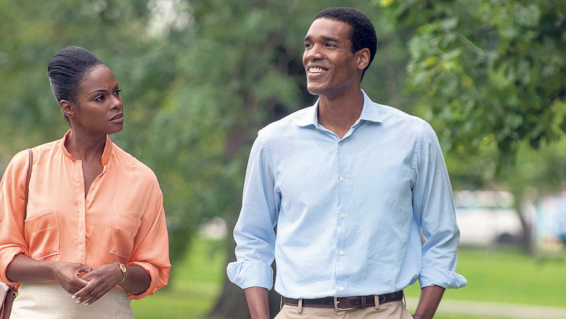 Tika Sumpter as Michelle Obama and Parker Sawyers as Barack Obama in a still from 'Southside With You'.