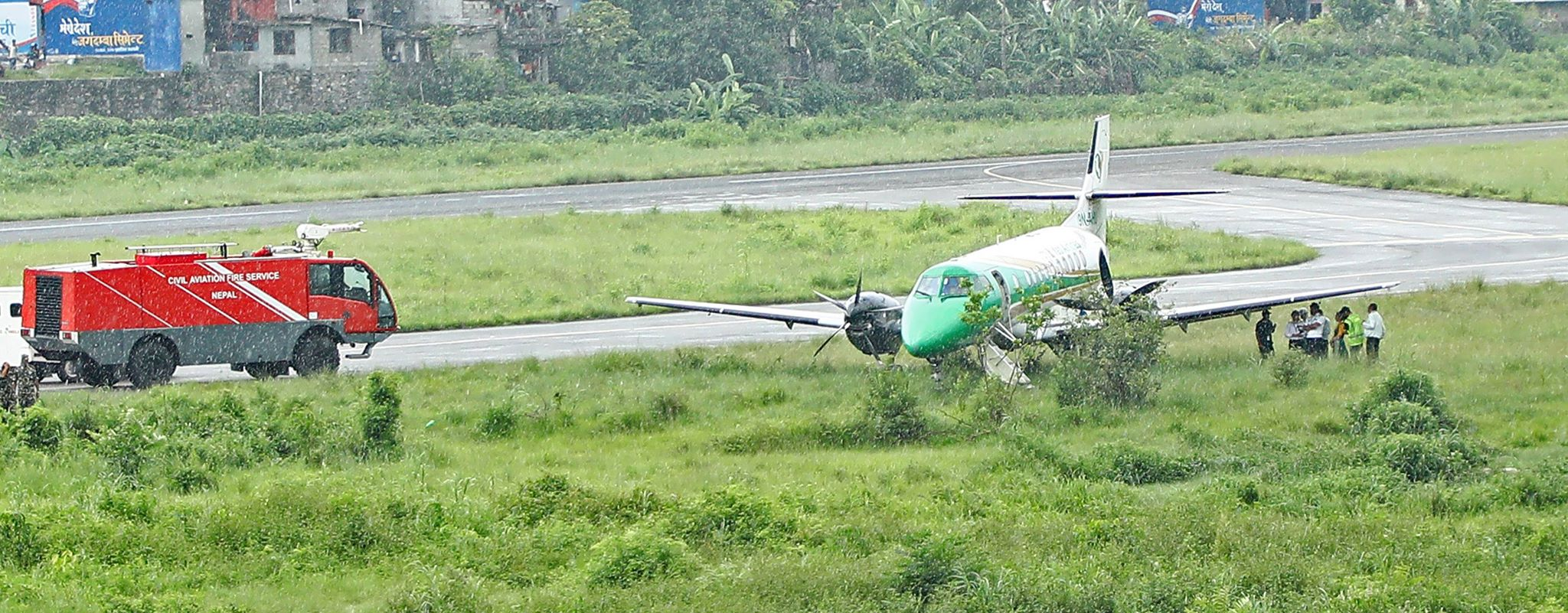 A plane of Yeti airlines narrowly escaped an accident at Pokhara Airport